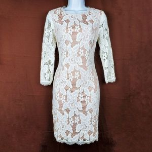 ADRIANNA PAPELL Ivory Nude 3/4 Sleeve Lace Dress